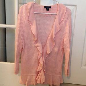 Sweater, pretty pink ruffles